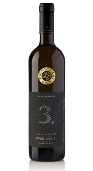 Láhev bílého vína Rulandské Šedé řady Seven Numbers slovinského vinařství Puklavec Family Wines